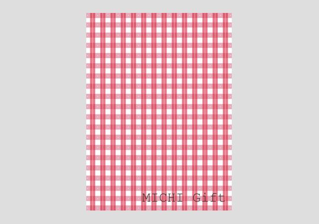 赤いチェックのデザインのラッピングペーパー・包装紙